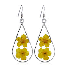 Dried Floral Transparent Resin Drop Dangle Earrings Handmade For Women BS