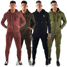New Mens Gym King Full Zipped Hooded Tracksuit Top & Bottoms Gym Wear Muscle Fit
