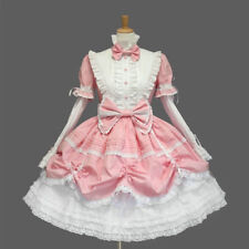 Womens Gothic Lolita Lace Dress Stand Collar Maid Bow Party Ball Gown Tutu Dress