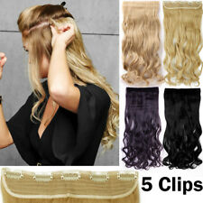 Synthetic Hair Extensions Half Full Head 5 Clips Hair Piece Fiber As Human  FW98