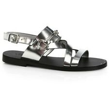 GUCCI JULIETTE SILVER GLADIATOR HORSEBIT FLAT SANDALS SHOES EU 38 I LOVE SHOES