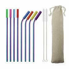 18/10 Stainless Steel Straws With Silicone Tips Reusable Drinking Straw 8pcs/set