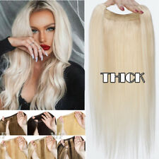 Straight One Piece Invisible Wire Headband Human Remy Hair Extensions Blonde US