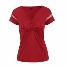 Women Summer Fashion Solid Color T-shirt Lace Splice Short Sleeves Plus Size Clo