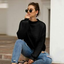 Pullover Loose Knitted Jumper Sweater Tops Knit Shirt Knitwear Womens