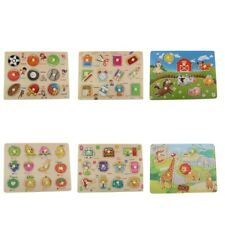 Wooden Puzzle Animal/Fruits/Stationery/Sports Peg Baby Kids Toddler Toys