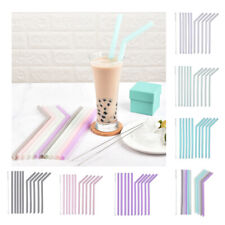 10Pcs Food Grade Reusable Silicone Drinking Straws Straight Bent Candy Color