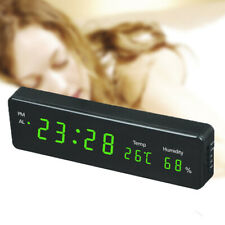 Electronic LED digital wall clock with temperature and humidity display clock.