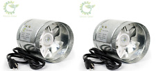"""4"""" 6"""" 8"""" Inch Duct Booster Inline Blower Fan Exhaust Ducting Cooling Vent X2"""