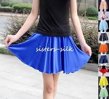 WOMENS GIRLS 100% SILK FULL SHORT SKIRT ELASTIC WAIST SIZE 2 ~ 14 / XS~L  AF645