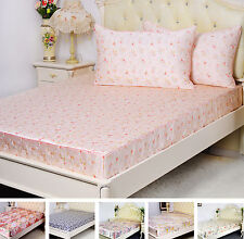 3 PCS 16MM 100% SILK PRINTED EXTRA DEEP FITTED SHEET PILLOWCASES SET ALL SIZE