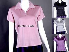 Women's Ladies 100% Pure Silk Knitted T Shirt Casual Polo Shirt Tees Tops AF051