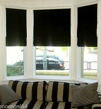 BLACK ROMAN BLIND - MADE TO MEASURE - MTM-VARIOUS COLOURS-BLACKOUT/INTERLINED