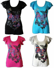 A66 SEXY CUTE LOVE BUTTERFLY LACE PUFF SLEEVES TOP 8-14
