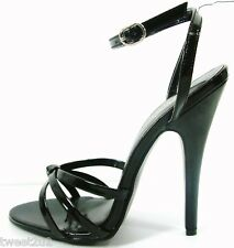 "Domina Black 6"" Spike Heel Ankle Strap Sandal 5 - 14"