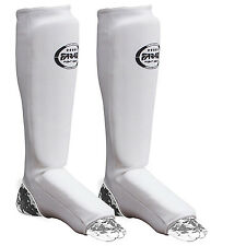 SHIN INSTEP PAD BOXING LEG & FOOT PROTECTOR GUARD WHITE