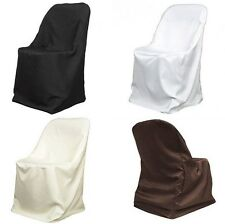 150 Folding Polyester Chair Covers Made in USA 3 Colors Wedding Party Event