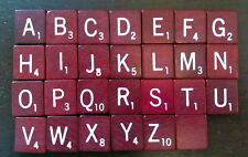 Wooden Maroon Scrabble Tiles Letters  Jewelry U Pick