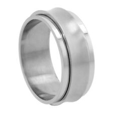 9mm Stainless Steel Concaved Spinner Ring, Matte Center