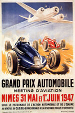 1947 RACING CAR GRAND PRIX AUTOMOBILE AIRPLANE RACE FRENCH VINTAGE POSTER REPRO