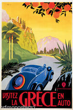 VISIT GREECE BY CAR ROAD UPHILL CASTLE HILL GREEK TRAVEL VINTAGE POSTER REPRO