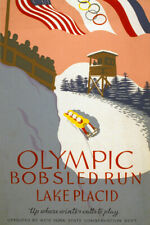 NEW YORK WINTER OLYMPIC GAMES BOBSLED LAKE PLACID SPORT VINTAGE POSTER REPRO