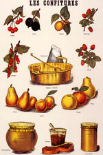 LES CONFITURES FRUITS JAMS FRENCH FOOD VINTAGE POSTER REPRO