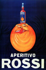 APERITIVO ROSSI ORANGE BOTTLE ON FOREHEAD LICKING LIPS VINTAGE POSTER REPRO