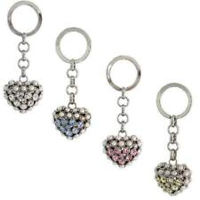 Puffed Heart Key Chain, Key Ring, Key Holder w/ Beads & Brilliant Cut Crystals