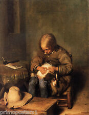BOY CARING FOR HIS DOG DUTCH BORCH REPRO PAPER CANVAS