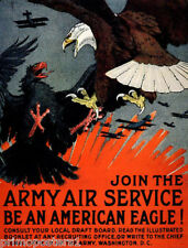WAR JOIN THE ARMY AIR SERVICE AMERICAN EAGLE VULTURE FIGHT VINTAGE POSTER REPRO
