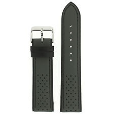 Watch Band Sport Design Grey Black Genuine Leather 1355