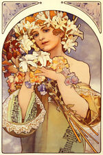 FLOWERS GIRL FASHION SPRING ART NOUVEAU BY MUCHA VINTAGE POSTER REPRO