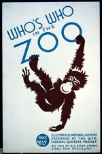 MONKEY WHO IS WHO IN THE ZOO NATURAL HISTORY BOOK AMERICAN VINTAGE POSTER REPRO