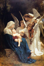 SONG OF ANGELS VIOLIN BY BOUGUEREAU FINE ART  REPRO ON PAPER OR CANVAS