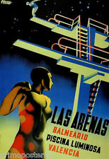 SWIM LAS ARENAS DIVING IN SWIMMING POOL JUMP VALENCIA SPORT VINTAGE POSTER REPRO