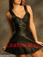 Black Leather laceup corseted mini dress embriodred M61