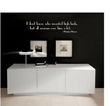 I Don't Know Who Invented High Heels Marilyn Monroe Vinyl Wall Decal Quote