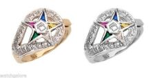 New Ladies Sterling Silver Vermeil Gold Masonic Freemason Eastern Star Ring