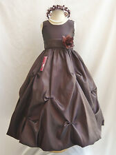 New  BROWN /CHOCOLATE WEDDING PAGEANT FLOWER GIRL DRESS  SIZE  2 4 6 8 10 12 14