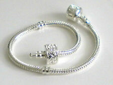 LOVE Snake Chain CHARM Bead Bracelet WITH Hinged STOPPER CLIP Sizes 16cm to 23cm