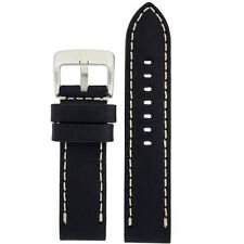 Genuine Leather Watch Band Thick Leather Heavy Buckle Black Streight Cut 1550