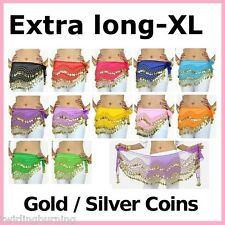 【Plus Size】2m Long Belly Dancing Dance Hip Scarf Coin Belt Extra Large XL Skirt
