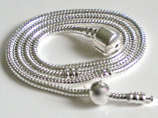 CLASP 3mm SNAKE Chain NECKLACE with STOPPER CLIP for European Charm Beads