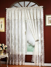 CARLY LACE CURTAIN PANEL WITH ATTACHED VALANCE WITH TASSELS