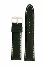 Watch Band Extra Thick Black Padded Genuine Leather Strap LEA1440