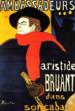 "Aristide Bruant Study by Toulouse-Lautrec - 20""x32"" Art on Canvas"