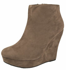 WOMENS WEDGE HEEL ANKLE BOOTS PLATFORM LADIES WEDGES FAUX SUEDE CAMEL SHOES  3-8