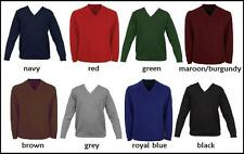 NEW KIDS BOYS/GIRLS ADULTS V-NECK KNITTED SCHOOL UNIFORM JUMPERS SWEATERS 24-40