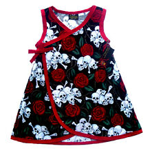 New Punk Red Skull Rose diaper cover Gothic toddler baby girl dress kimono pants